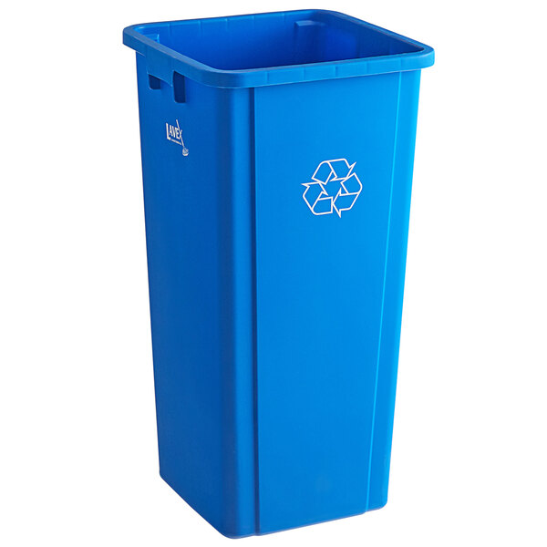 Lavex Janitorial 23 Gallon Blue Square Recycle Bin with Bottle / Can Lid Main Image 1