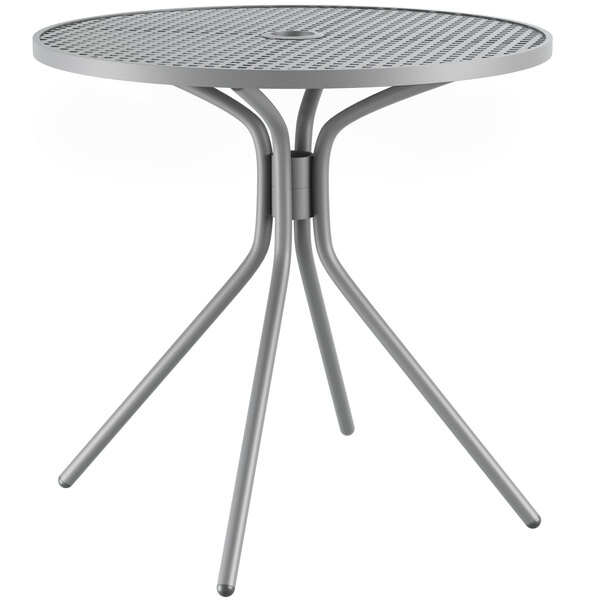 """Lancaster Table & Seating Harbor Gray 30"""" Round Dining Height Powder-Coated Steel Mesh Table with Modern Legs Main Image 1"""