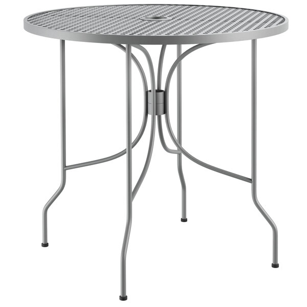 """Lancaster Table & Seating Harbor Gray 30"""" Round Dining Height Powder-Coated Steel Mesh Table with Ornate Legs Main Image 1"""