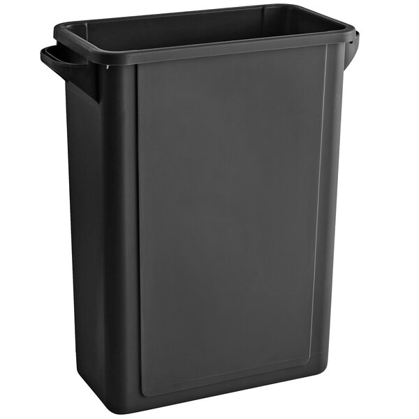 Lavex Janitorial 16 Gallon Black Slim Rectangular Trash Can with Flat Lid Main Image 1