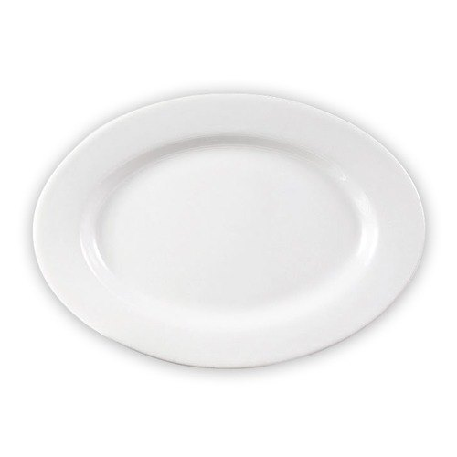 CAC RCN-81 Clinton 18 inch x 12 1/2 inch Bright White Rolled Edge Oval Porcelain Platter  - 6/Case