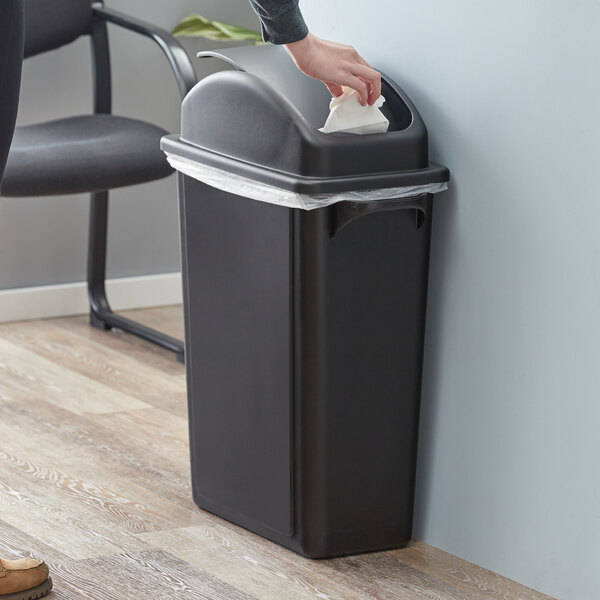Lavex Janitorial 16 Gallon Black Slim Rectangular Trash Can with Dome Swing Lid Main Image 2