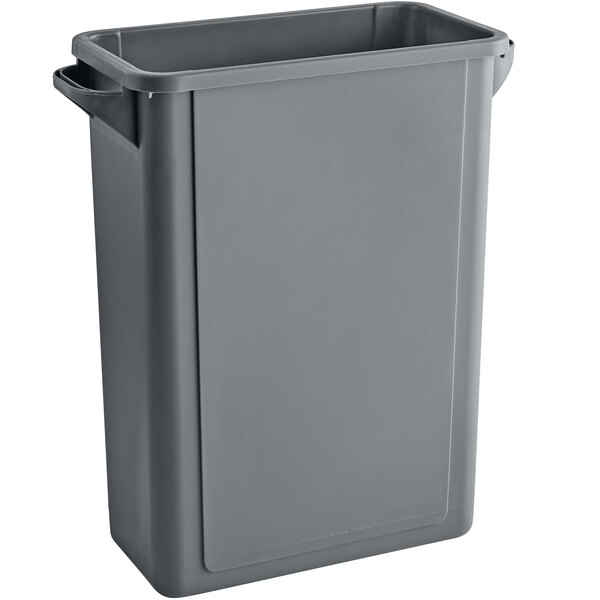 Lavex Janitorial 16 Gallon Gray Slim Rectangular Trash Can with Flat Lid Main Image 1