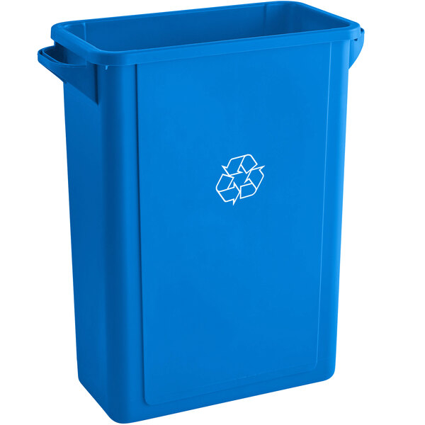 Lavex Janitorial 16 Gallon Blue Slim Rectangular Recycle Bin with Drop Shot Lid Main Image 1