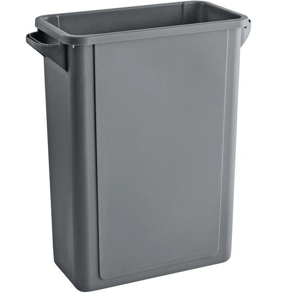 Lavex Janitorial 16 Gallon Gray Slim Rectangular Trash Can with Drop Shot Lid Main Image 1
