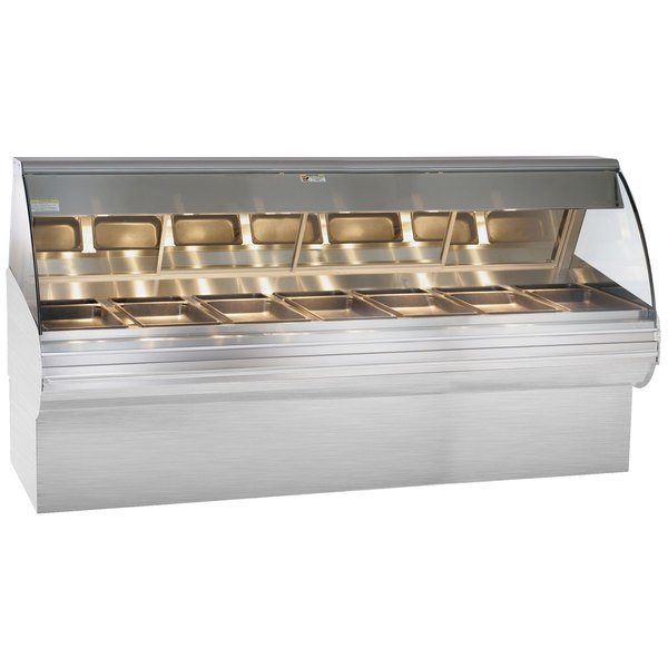 """Alto-Shaam HN2SYS-96 S/S Stainless Steel Heated Display Case with Curved Glass and Base - Full Service 96"""""""