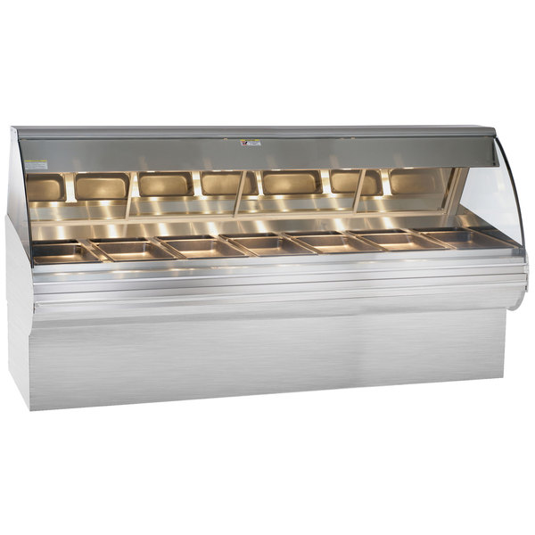 """Alto-Shaam HN2SYS-96 S/S Stainless Steel Heated Display Case with Curved Glass and Base - Full Service 96"""" Main Image 1"""