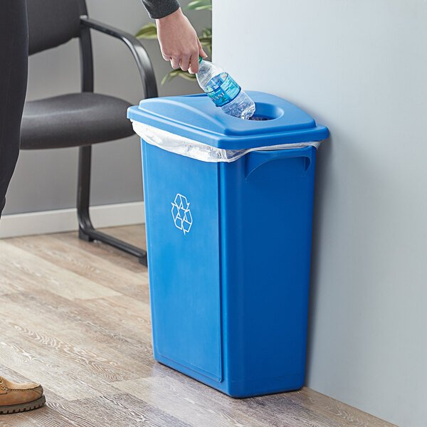 Lavex Janitorial 16 Gallon Blue Slim Rectangular Recycle Bin with Bottle / Can Lid Main Image 2