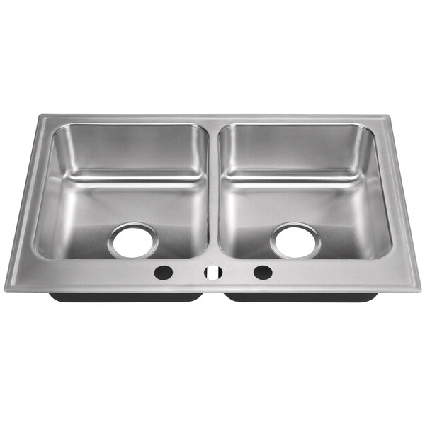 """Just Manufacturing DL-2233-A-3 2 Compartment Stainless Steel Drop-In Sink Bowl - 14"""" x 16"""" x 7 1/2"""" Main Image 1"""