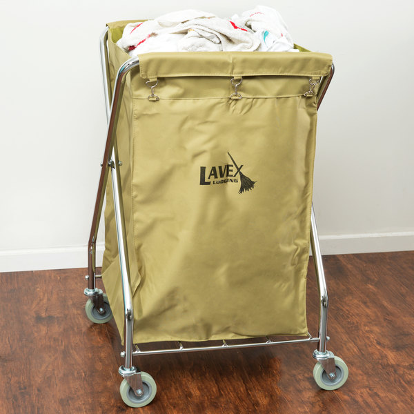 Lavex Lodging Commercial Laundry Cart/Trash Cart, 10 Bushel Folding Metal Frame and Canvas Bag