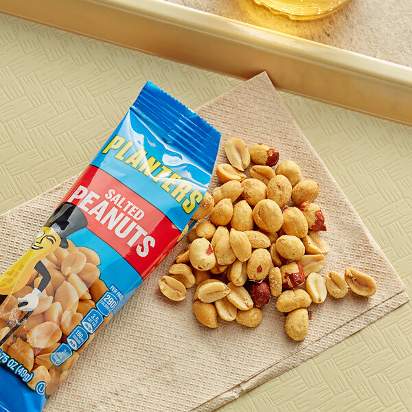 Planters 0.1 lb. Individual Bags of Roasted & Salted Peanuts - 48/Case Main Image 2