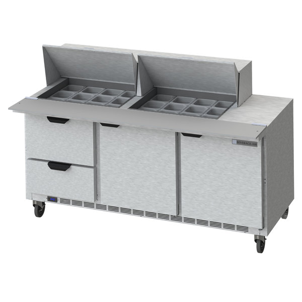 """Beverage-Air SPED72HC-24M-2 72"""" 2 Door 2 Drawer Mega Top Refrigerated Sandwich Prep Table Main Image 1"""