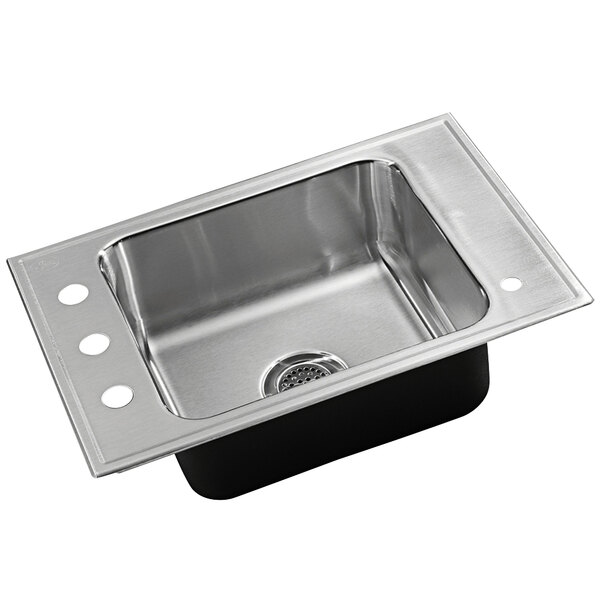 """Just Manufacturing CRA-ADA-1725-A-1145DCR 1 Compartment Stainless Steel ADA Classroom Drop-In Sink Bowl with Rear Center Drain - 16"""" x 14"""" x 4 1/2"""" Main Image 1"""
