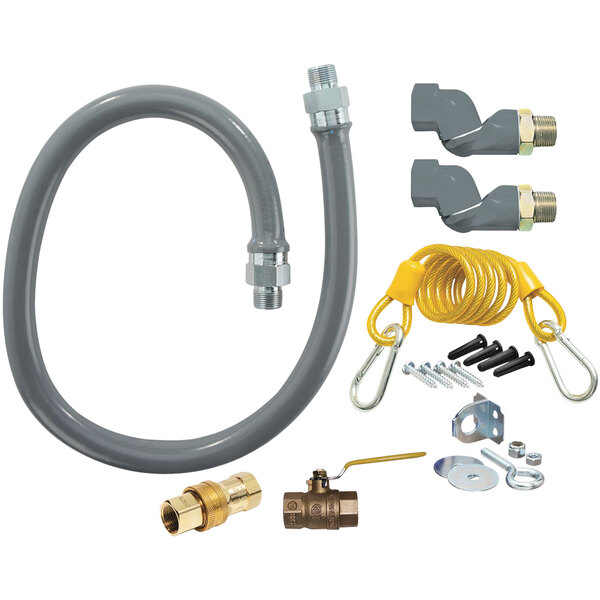 """Dormont RG502S48 ReliaGuard 48"""" Gas Connector Kit with Double SwivelGuard and Snap Quick-Disconnect - 1/2"""" Diameter Main Image 1"""