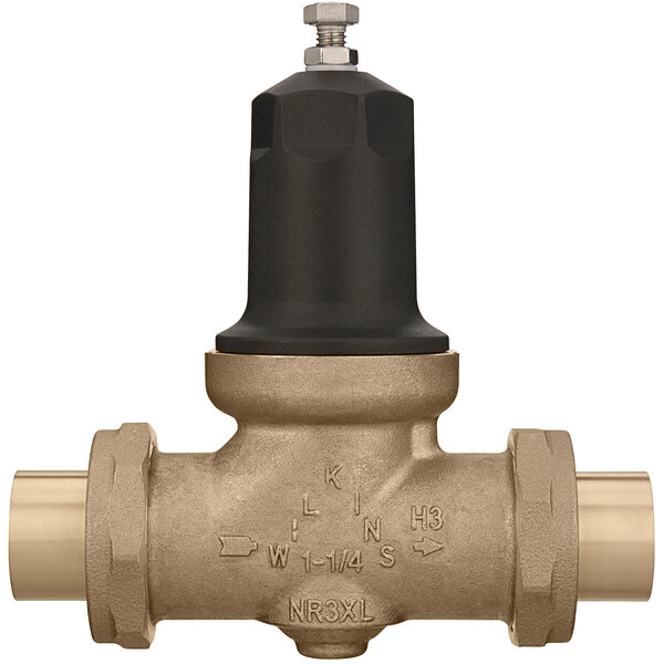 """Zurn 114-NR3XLDUC 1 1/4"""" Double Union Copper Sweat Connection Water Pressure Reducing Valve with Integral By-Pass Check Valve and Strainer Main Image 1"""
