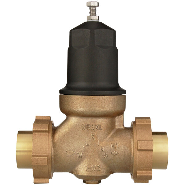 """Zurn 112-NR3XLDUC 1 1/2"""" Double Union Copper Sweat Connection Water Pressure Reducing Valve with Integral By-Pass Check Valve and Strainer Main Image 1"""
