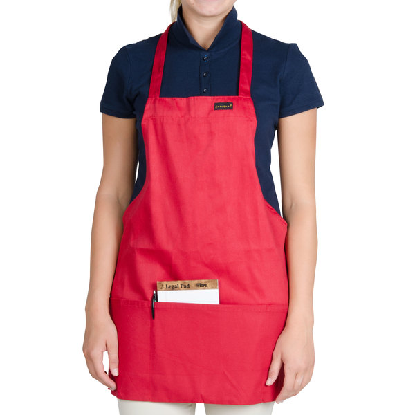Chef Revival 602BAFH-RD Customizable Professional Front of the House Red Bib Apron - 28 inchL x 25 inchW