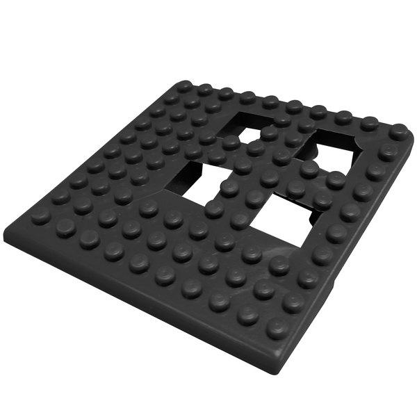 """Cactus Mat Dri-Dek 2554-CC Black 2"""" x 2"""" Interlocking Vinyl Drain Tile Corner Piece - 9/16"""" Thick"""
