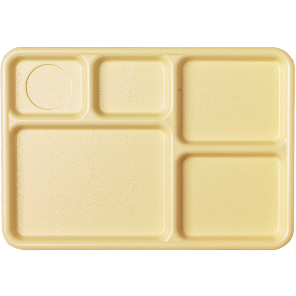 "Cambro 10145CW133 Camwear 10"" x 14 1/2"" Beige 5 Compartment Serving Tray - 24/Case Main Image 1"