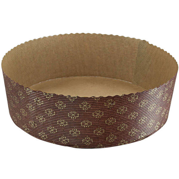 Novacart G9F16011 Panettone M 220/70 56 oz. Brown and Gold Tall Paper Baking Mold - 480/Case Main Image 1