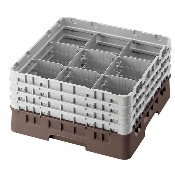 "Cambro 9S958167 Brown Camrack Customizable 9 Compartment 10 1/8"" Glass Rack"