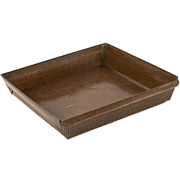 Novacart G9F10099 PM 155 15 oz. Brown Square Paper Loaf Mold - 720/Case Main Image 1