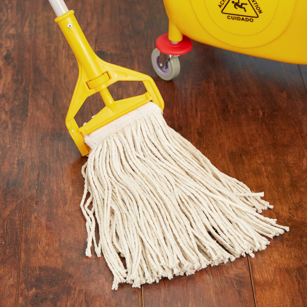 """Continental Wilen A401016 16 oz. Cut End Natural Cotton Mop Head with 5"""" Band"""