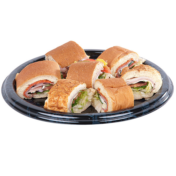 "Sabert 812 12"" Black Marble Round Catering Tray - 6/Pack"