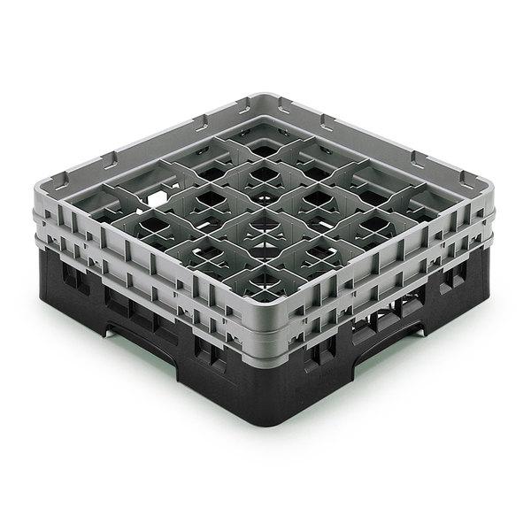 "Cambro 16S958110 Camrack Customizable 10 1/8"" High Customizable Black 16 Compartment Glass Rack Main Image 1"