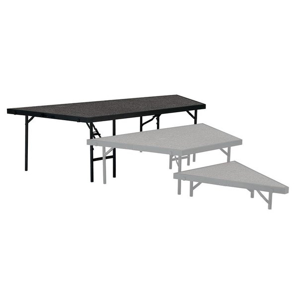 """National Public Seating SP4824C Portable Stage Pie Unit with Gray Carpet - 48"""" x 24"""""""