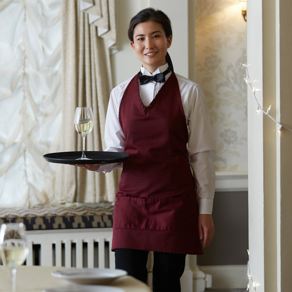 """Choice Burgundy Adjustable Poly-Cotton Tuxedo Apron with 2 Pockets - 32""""L x 29""""W Main Image 2"""