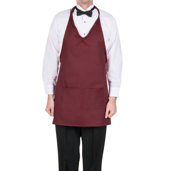 "Choice 32"" x 29"" Burgundy Tuxedo Full Length Bib Apron with Pockets"