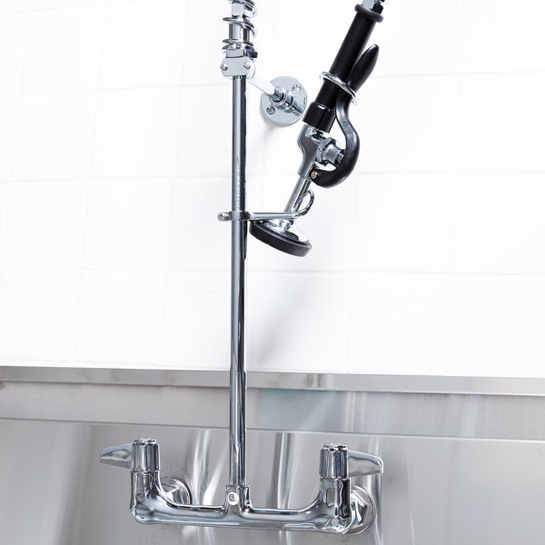 """Equip by T&S 5PR-8W00 Wall Mounted 31 1/2"""" High Pre-Rinse Faucet with 8"""" Adjustable Centers, 44"""" Hose, and 6"""" Wall Bracket"""