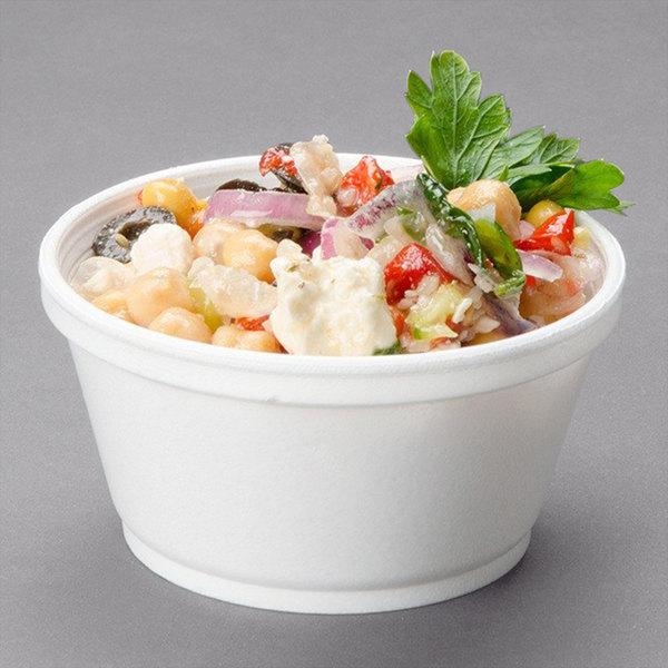 Dart 8SJ20 8 oz. Customizable Extra Squat White Foam Food Bowl - 1000/Case