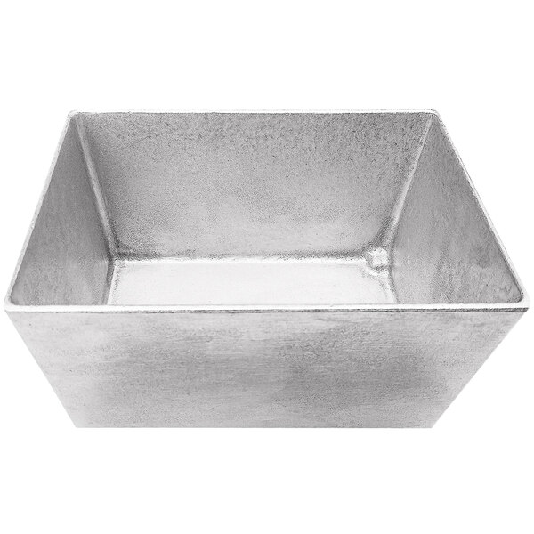 """Tablecraft CW5026N Simple Solutions 1/4 Size Natural Finish Cast Aluminum Deep Straight Sided Bowl - 5"""" Deep Main Image 1"""