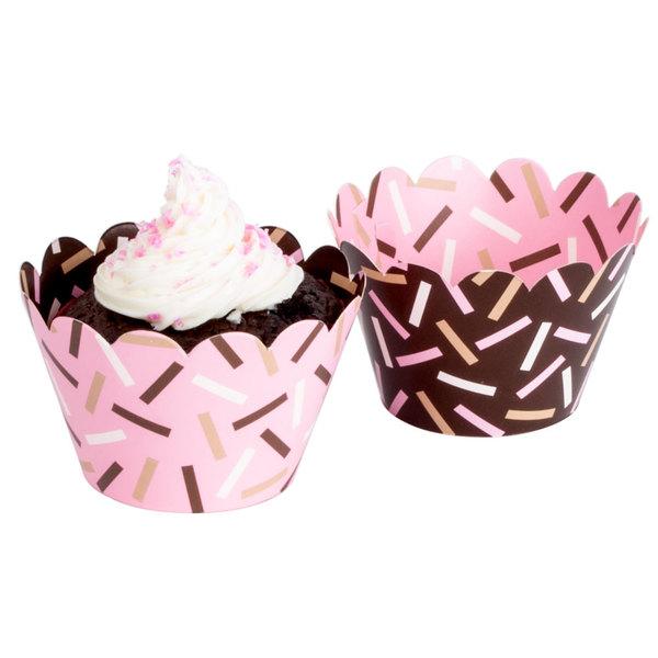 Hoffmaster 611132 Chocolate Brown / Pink Sprinkles Reversible Cupcake Wrappers - 250/Case