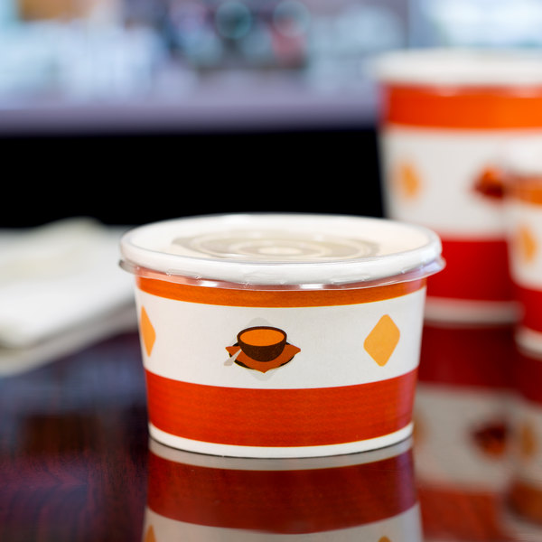 Choice 8 oz. Double Poly-Coated Paper Soup / Hot Food Cup with Plastic Lid - 250/Case