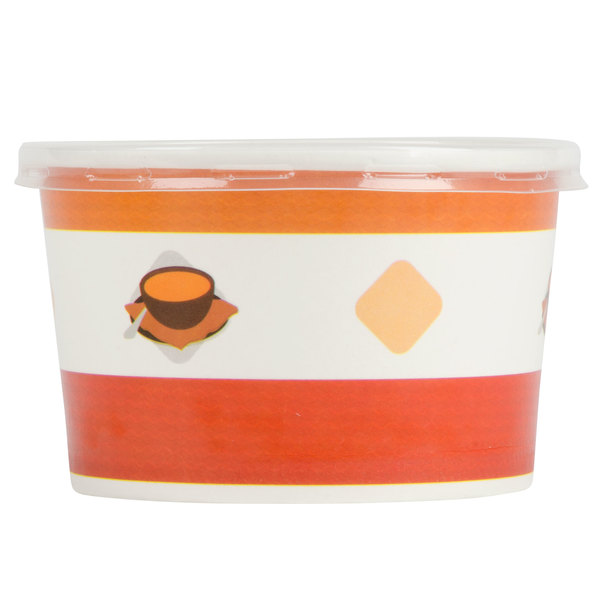Choice 8 oz. Double Poly-Coated Paper Soup / Hot Food Cup with Vented Plastic Lid - 250/Case