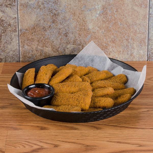 """GET RB-891 12"""" Black Round Plastic Fast Food Basket - 12/Pack"""
