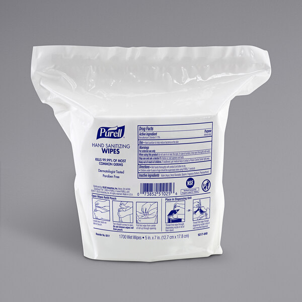 Purell® 9217-02 Alcohol-Free Hand Sanitizing Wipes, 1700 Count Refill Bag - 2/Case Main Image 1