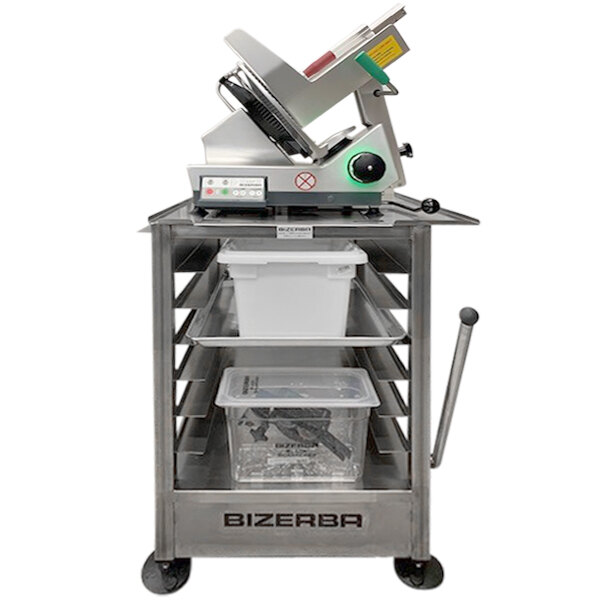 """Bizerba SLICER-TABLE-315 27 1/4"""" x 32 1/4"""" 14-Gauge Stainless Steel Mobile Slicer Stand with 6 Sheet Pan Rack, Parking Brake Handle, and Drain Main Image 1"""
