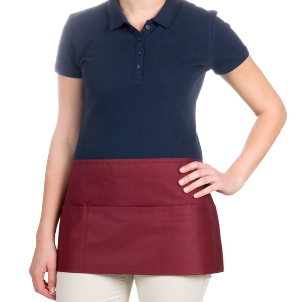Choice 12 inch x 24 inch Burgundy Front of the House Waist Apron
