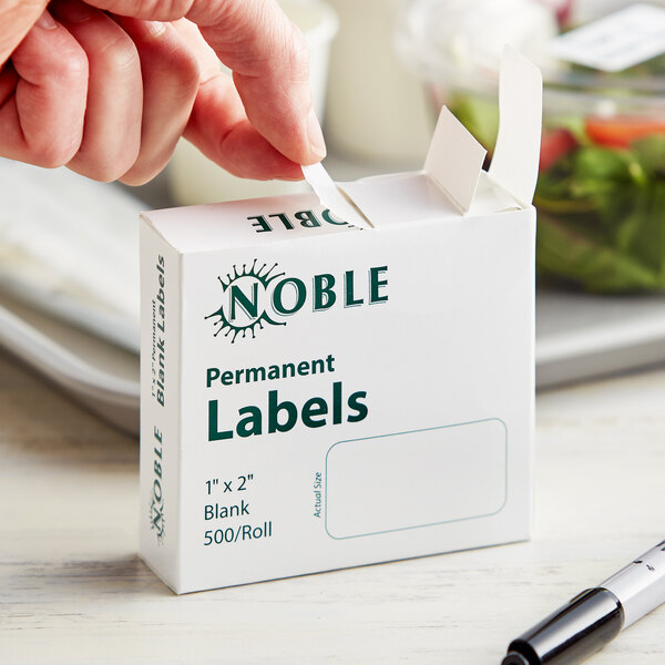 """Noble Products 1"""" x 2"""" Permanent Blank Label - 500/Roll Main Image 2"""