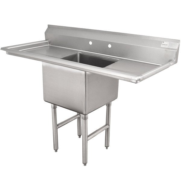 """Advance Tabco FC-1-1818-18RL One Compartment Stainless Steel Commercial Sink with Two Drainboards - 54"""""""