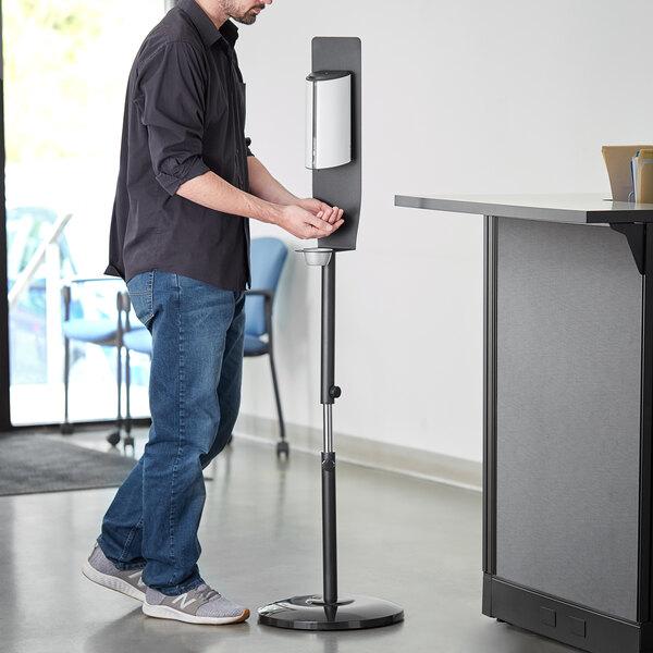 Lavex Janitorial White Metal Adjustable Automatic Liquid Soap / Sanitizing Station Main Image 2