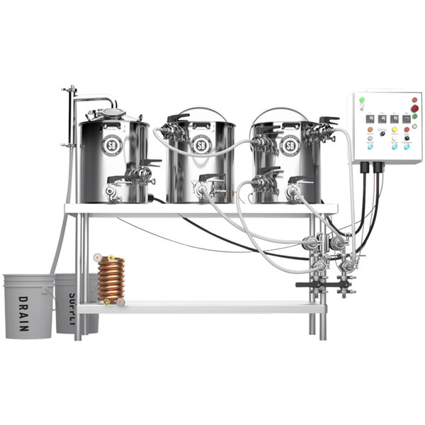 Spike Brewing Spike+ Trio 15 Gallon System with Tri-Clamp Fittings, Double Batch Control Panel, and Brew Table Main Image 1