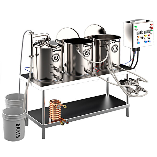Spike Brewing Spike Trio 10 Gallon System with NPT Fittings, Double Batch Control Panel, Brew Table, and Wort Chiller Main Image 1