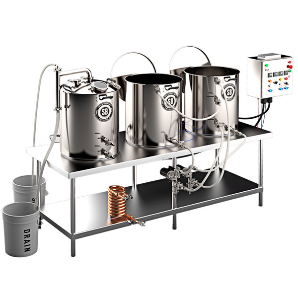 Spike Brewing Spike Trio 30 Gallon System with NPT Fittings, Double Batch Control Panel, and Brew Table Main Image 1