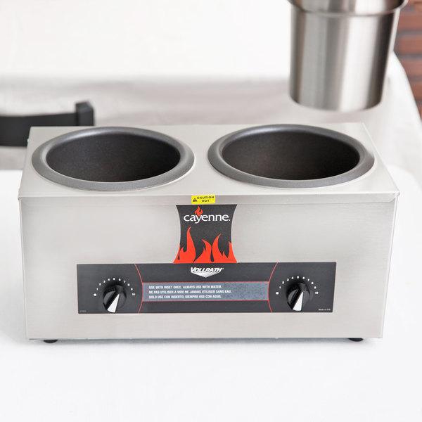 Vollrath 72045 Cayenne Twin 4 Qt. Countertop Warmer 120V, 1000W