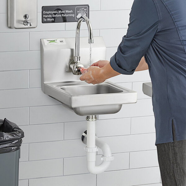 "Regency 12"" x 16"" Wall Mounted Hands-Free Hand Sink with 11 1/8"" Gooseneck Sensor Faucet Main Image 6"